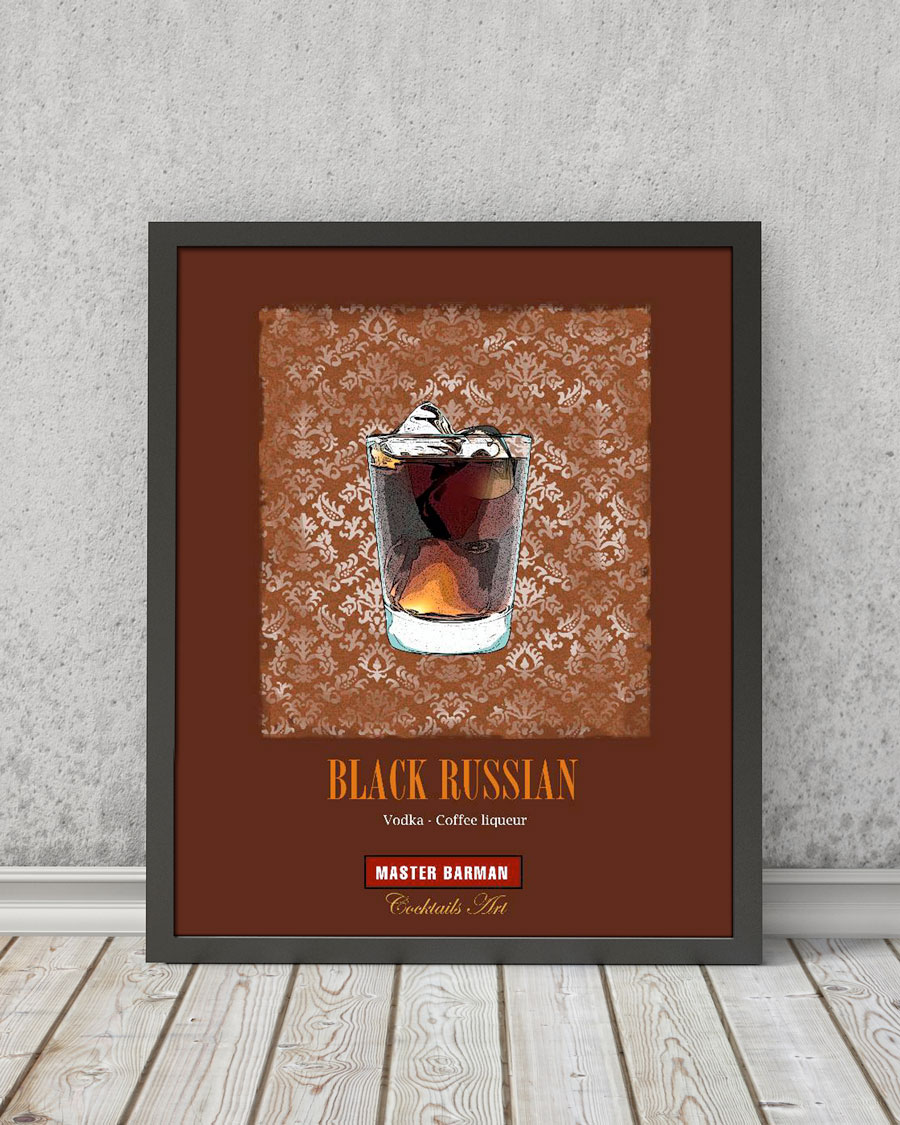 Black Russian - Master Barman - Cocktails Art | STAMPA | Vimages - Immagini Originali in stile Vintage - CT03