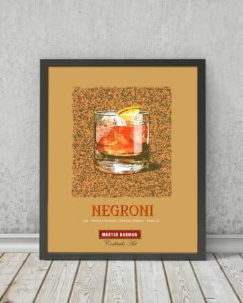 Negroni - Master Barman - Cocktails Art | STAMPA | Vimages - Immagini Originali in stile Vintage - CT08