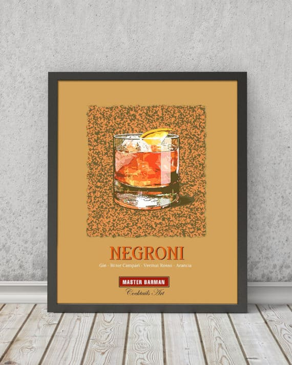 Negroni - Master Barman - Cocktails Art | STAMPA | Vimages - Immagini Originali in stile Vintage - CT08